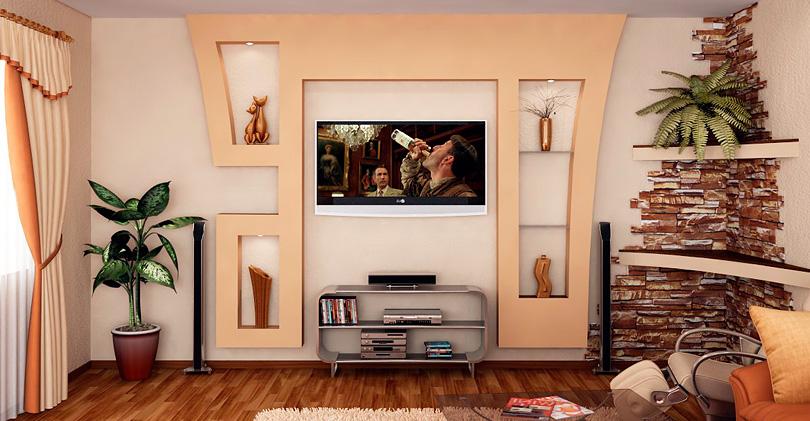 Декоративная стена из гипсокартона